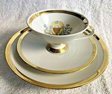MITTERTEICH BAVARIA PORCELAIN CUP SAUCER PLATE CHRISTIAN MOTIF GOLD RIM