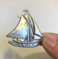 DANECRAFT Sterling Silver Sailboat Pin Brooch ~ Vintage ~ Hand Made
