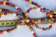 "7x6x8mm Natural Howlite Dyed Skull Mixed Color's Stone Beads 16"" Strand/50pcs"
