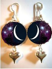 Silver Bubble Charm Earrings #2 Moon And Stars In Space 925