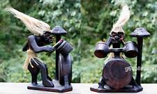 Primitive Tribal Statue with Drum Kit Tiki Bar Drummer Band Gift Home Decor Art