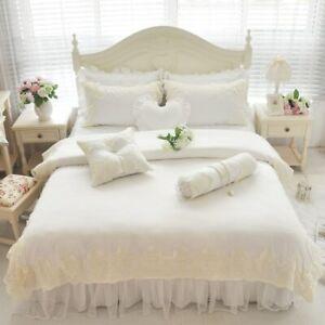 Bedding Set Bed Set Silk Cotton Lace Soft Bedclothes Bed Skirt Duvet Cover Set