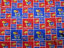 "UNIVERSITY of KANSAS ""JAYHAWKS"" NEW SQUARE DESIGN 1/2 YARD PIECE 100% COTTON"