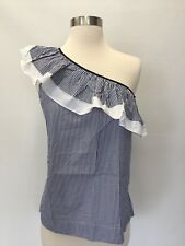 NWT J.Crew Tall One-Shoulder Ruffle Top in Stripe Blouse Sz 4T White Navy H1259