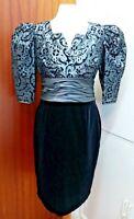 TR VT 80's Grey/Black Satin/Velvet Short Puffed Sleeve Glam Evening Dress UK 12