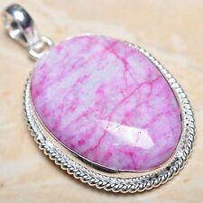 "Handmade Cherry Ruby Natural Gemstone 925 Sterling Silver Pendant 2"" #P01885"