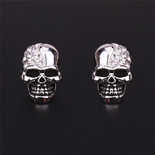 Women Rhinestone Crystal Diamond Skull Pierced Punk Ear Stud Earrings