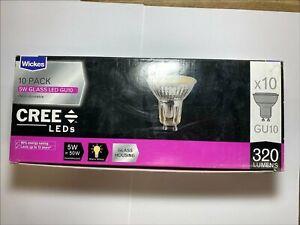 Wickes Cree LED Glass Housing 320lm Spot Light Bulb 5W = 50W GU10 Pack of 10
