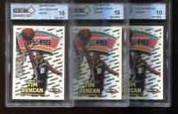 (3) Count Lot Tim Duncan RC 1997-98 Hoops #166 HOF Spurs Rookie GEM MINT 10