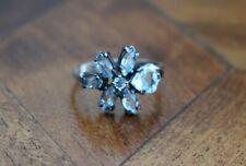 Russian Sterling Silver Topaz Topaz Flower Ring size O