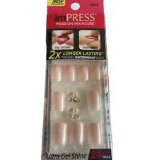 NEW Kiss Nails Impress Press On Manicure Short Gel Pearlescent Pink Cherry Gems