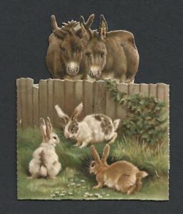 Y48 - DONKEYS AND RABBITS - DIECUT FOLDING VICTORIAN XMAS CARD