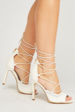 NEW Cream Heels Size 7 Strappy Sandals Lace up Peep Toe Prom Shoes