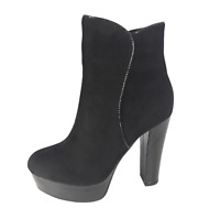 Womens Ladies Black Faux Suede High Heel Winter Shoes Ankle Boots Size UK 5 New