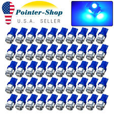 50Pcs Ultra Blue T10 Wedge 5050 5SMD Car Interior License Plate LED Light Bulbs