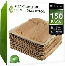 Stock Your Home Eco Friendly Palm Leaf Plates and Cutlery Set - 150 Pack