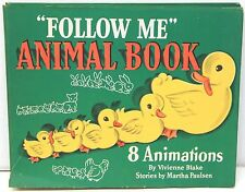 Follow Me Animal Book 1945 w/8 Color Fold-Out Baby Animal Animations