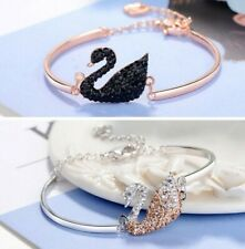 HOT Swarovski Crystal Black Swan Bracelets Women Adjustable Bangles Jewellry