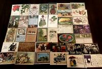 ~Lot of 40 Antique 1900's ~Mixed Topics Greetings Postcards~All with stamps-b536