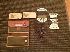 VINTAGE MILITARY LEATHER CASE SEWING KIT DIV. REG. CO. BUTTONS ETC RARE