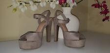 Olsenboye Beige Fabric Faux Suede Ankle Strap Platform High Heel Sandals Sz.6,5M