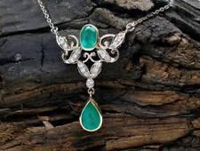 Antikes Smaragd Collier Altschliff-Brillanten 14k 585er Gold Platin cts Diamant