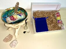 Sage Smudge Kit, Real 6� Abalone Shell / Stand / Apache Tear Necklace