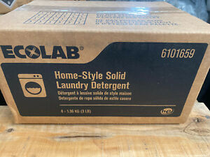 Ecolab 6101659 Home-Style Solid Laundry Detergent (4) 3LB Blocks Fast Free Ship