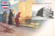 SS  MONGOLIA, PACIFIC MAIL SHIP LINE, MANILA P.I. CHURCH VIEW used c 1904-14