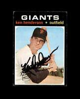Ken Henderson Hand Signed 1971 Topps San Francisco Giants Autograph