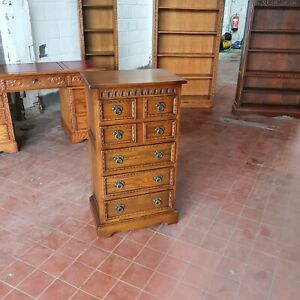 OLD CHARM FURNITURE OAK CARVED CHEST OF DRAWERS / 5 DRAWER CHEST MODEL No 2219