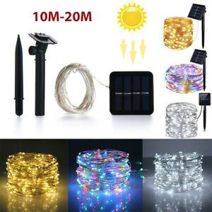 10-20M LED Solar Outdoor Strip Light String Garden Party Decoration Light RGB UK