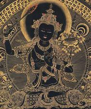 """26"""" BLESSED TIBETAN THANGKA PAINTING POSTER: BLACK MANJUSHRI OF SECRET WISDOM"""