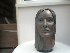 Awesome signed clay human head sculpture with bronze patina STYLISH DISPLAY BUST