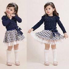 Toddler Kids Baby Girl Outfits Cloth T-shirt Top+Polka Dot Tutu Skirt Dress 2-3Y