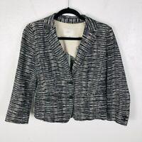 Ann Taylor LOFT Size 4 Striped Linen Blazer Jacket 2 Button Work Career Business