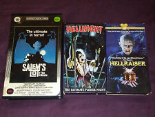 LOT OF 3 HORROR VHS Tapes Salem's Lot (Warner Home Video) Hell Night Hellraiser