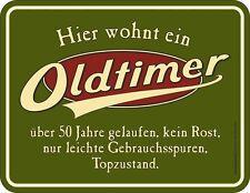 Blechschild geprägt Oldtimer 50 Jahre Geburstag   Gr. 9 x 7 cm  Neu  3768