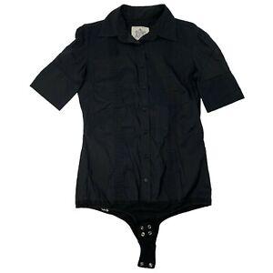 GUESS JEANS 1981 Women's Snap Crotch Shirt Top Sz M Black Button Down Western