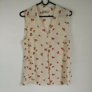 TU Chiffon Style Thin Cream Tunic Sleeveless Top Floral Print UK Size 10