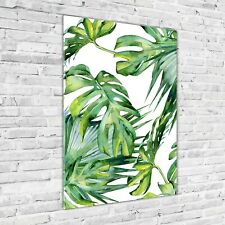Wand-Bild Kunstdruck aus Acryl-Glas Hochformat 70x100 Tropische Blätter