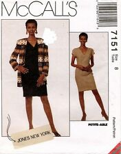 McCall's Jones New York  Misses' Cardigan and Dress Pattern 7151 Size 8 UNCUT