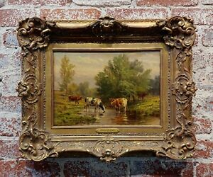 Thomas Craig -Cows grazing by water under a Summer Sky-Oil painting