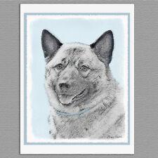 6 Norwegian Elkhound Dog Blank Art Note Greeting Cards