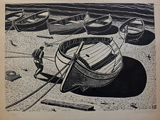 Maxime Juan (1900-?) Very Large Wood Engraved Boats Hérault Country Basque GB