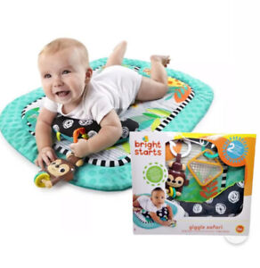 NEW! Bright Starts Giggle Safari Baby Prop Mat Tummy Time Monkey Jungle Playmat