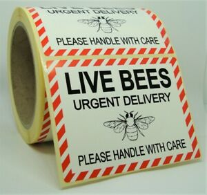LIVE BEES WITH CARE Labels Stickers MEDIUM 100x75mm Zoo Vets Pet Shop 100X75-LBE