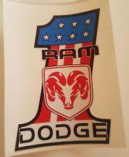 #196 USA FLAG No.1 DODGE RAM ROT 9,5x7,5 cm AUFKLEBER STICKER AUTOCOLLANT