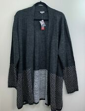 Avenue Cardigan sweater size 22 24 gray black long sleeve open front womens new