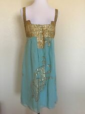 Nicole Miller Collection Silk And Gold Lurex Dress Size 6